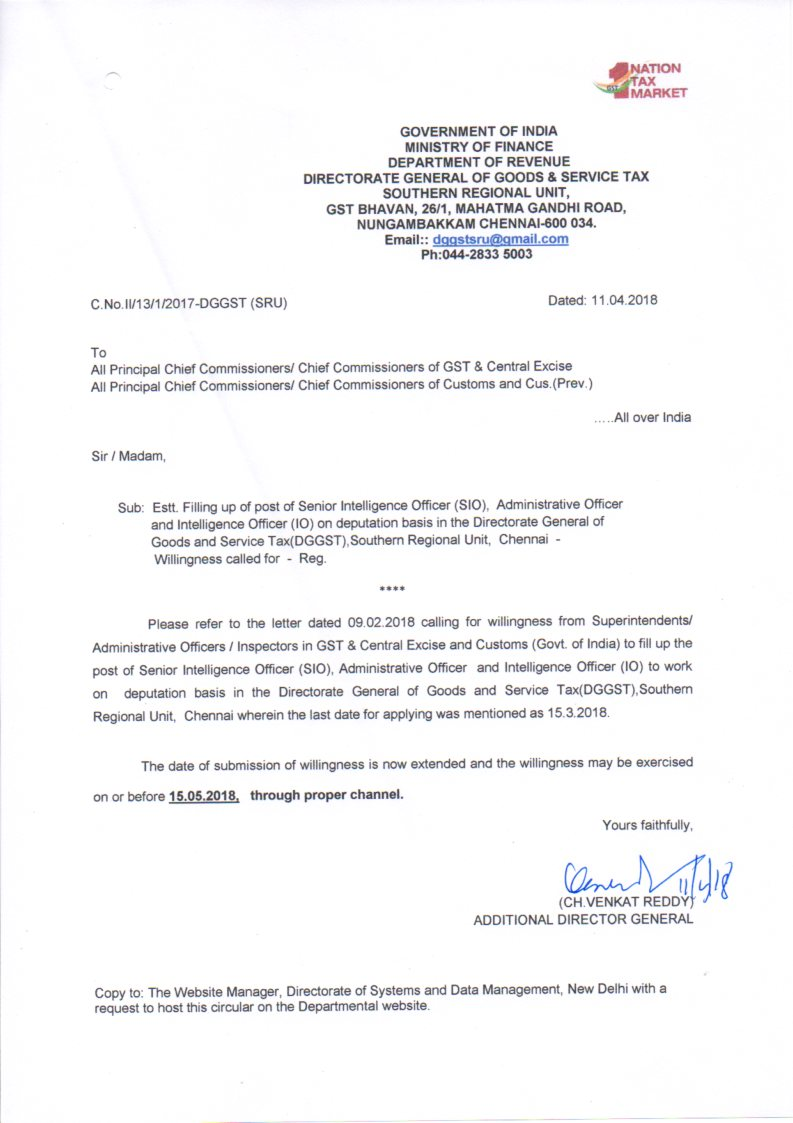 The chief commissioner of central excise chennai zone click here for details spiritdancerdesigns Choice Image